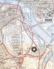 1945 map of the Pentagon road network