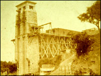 Britannia bridge being built