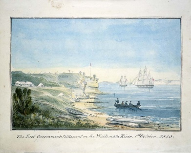 First campsite at new town of Auckland, 1840