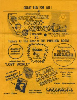 Flyer promoting the original one-day, trial run Minicon in March 1970 at San Diego's U.S. Grant Hotel