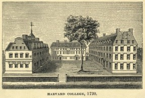 Engraving of Harvard College in 1720