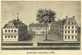 Engraving of Harvard College in 1720