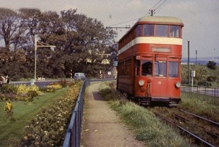 Mumbles Railway car number 11 alongside Blackpill Lido in the late summer of 1959.