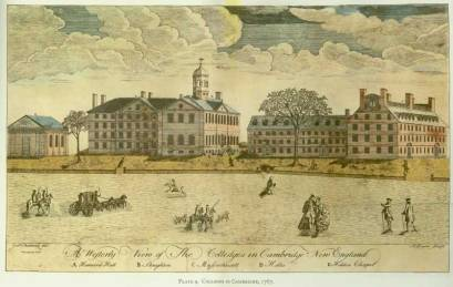 Paul Revere. A Westerly View of The Colledges in Cambridge New England, 1767.